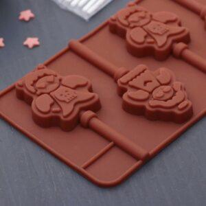 Форма силиконовая для леденцов и мороженого Девочка и мишка.