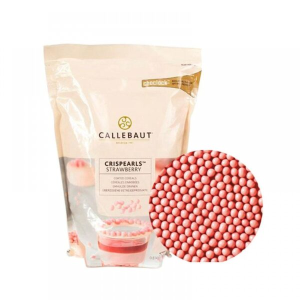 Шарики хрустящие Callebaut Crispearls - клубничный шоколад, 100 г.